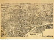 Newark, New Jersey 1895 Bird's Eye View