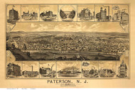 Paterson, New Jersey 1880 Bird's Eye View