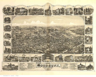 Woodbury, New Jersey 1886 Bird's Eye View