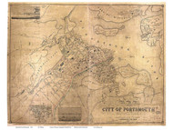 Portsmouth 1850 Walling - Old Map Reprint - New Hampshire Towns Other