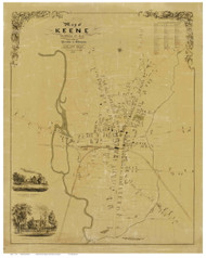 Keene 1853 Presdee & Edwards - Old Map Reprint - New Hampshire Towns Other