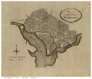 Washington DC 1792 - L'Enfant - Old Map Reprint