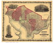 Washington DC 1862 - Johnson - Old Map Reprint