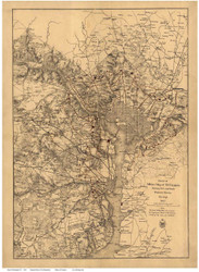 Washington DC 1865 - War Department - Old Map Reprint