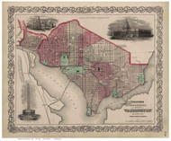 Washington DC 1869 - Colton - Old Map Reprint