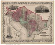 Washington DC 1869 - Colton - Old Map Reprint