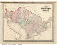 Washington DC 1886 - Johnson - Old Map Reprint