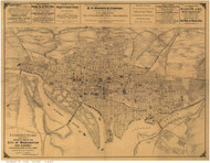 Washington DC ca1886 - Gedney - Old Map Reprint