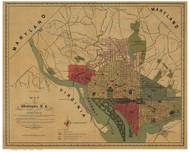 Washington DC ca1887 - Silversparre - Old Map Reprint