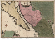 California 1720 de Fer - Old State Map Reprint