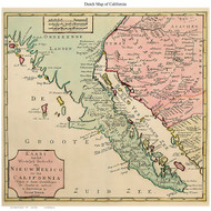 California 1770 Tirion - Old State Map Reprint