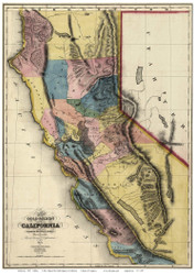 California 1851 Gibbes - Old State Map Reprint