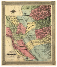 California 1851 Jackson - Old State Map Reprint