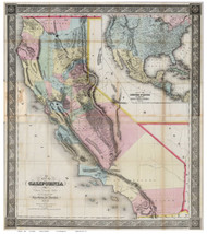 California 1852 Gibbes - Old State Map Reprint