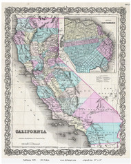 California 1855 Colton - Old State Map Reprint