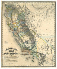 California 1857 Goddard - Old State Map Reprint