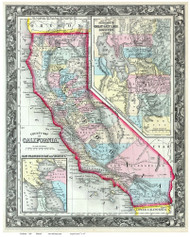 California 1860 Mitchell - Old State Map Reprint