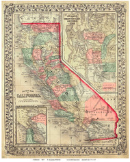 California 1867 Mitchell - Old State Map Reprint