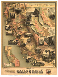 California 1888 Johnstone - Old State Map Reprint