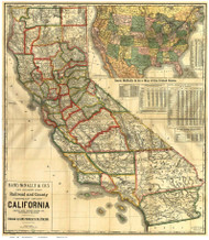 California 1890 Rand, McNally & Co. - Old State Map Reprint