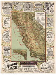 California 1895 Blum - Old State Map Reprint