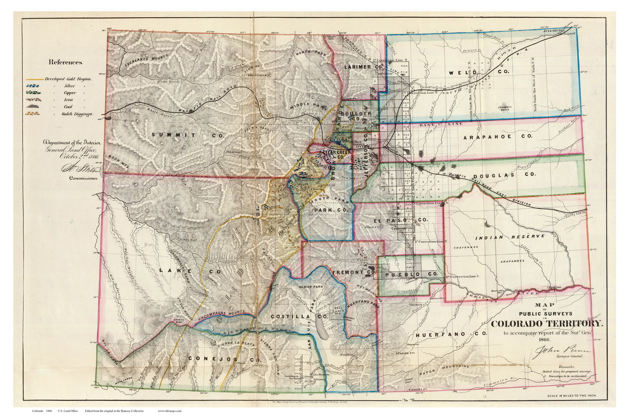 Colorado 1866 Us Land Office Old State Map Reprint Old Maps - Old-map-of-us