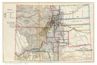 Colorado 1866 U.S. Land Office - Old State Map Reprint