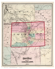 Colorado 1873 Gray - Old State Map Reprint