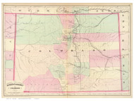 Colorado 1874 Asher & Adams - Old State Map Reprint