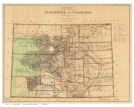 Colorado 1876 U.S. Land Office - Old State Map Reprint