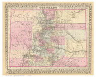 Colorado 1880 Mitchell - Old State Map Reprint