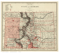 Colorado 1881 U.S. Land Office - Old State Map Reprint