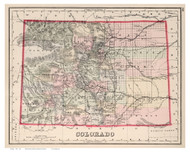 Colorado 1884 Gray - Old State Map Reprint