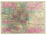 Colorado 1884 Nell - Old State Map Reprint