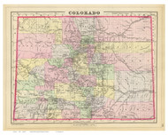 Colorado 1890 Mitchell - Old State Map Reprint