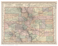 Colorado 1891 Appleton - Old State Map Reprint