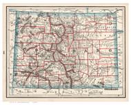 Colorado 1893 Cram - Old State Map Reprint