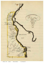 Delaware 1823 Henshaw - Old State Map Reprint