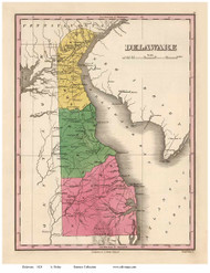 Delaware 1824 Finley - Old State Map Reprint