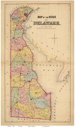 Delaware 1868 Beers - Old State Map Reprint