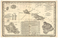 Hawaiian Islands 1893 Linton - Old State Map Reprint