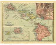 Hawaiian Islands 1912 Rand McNally - with Insets - Old State Map Reprint
