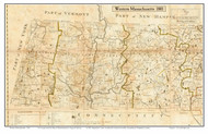 Western Massachusetts 1801 Carleton - Old State Map Custom Print - Excerpted from the 1801 Carleton Map