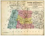 Western Massachusetts 1855 Bowles - Old State Map Reprint