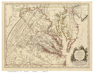 Maryland 1755 Fry - Old State Map Reprint