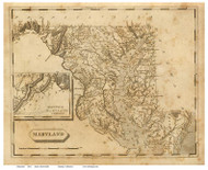 Maryland 1812 Arrowsmith - Old State Map Reprint