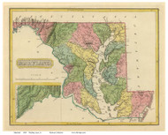 Maryland 1816 Lucas - Old State Map Reprint