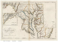 Maryland 1818 Carey - Old State Map Reprint
