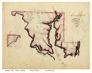 Maryland 1823 Henshaw - Old State Map Reprint