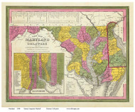 Maryland 1846 Mitchell - Old State Map Reprint
